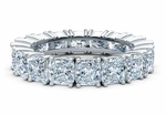 Cushion Cut Square .50 Carat Each Cubic Zirconia Four Prong Set Eternity Band