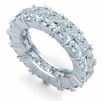 Cushion Cut Square .75 Carat Each Cubic Zirconia Four Prong Set Eternity Band
