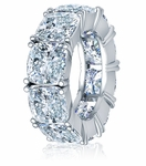 Cushion Cut Square 1.5 Carat Each Cubic Zirconia Four Prong Set Eternity Band