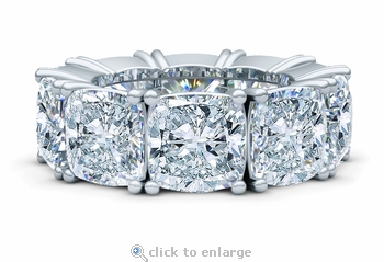 Cushion Cut Square 2.5 Carat Each Cubic Zirconia Four Prong Set Eternity Band
