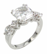 Cushionista 2.5 Carat Cushion Cut Cubic Zirconia Princess Cut and Round Solitaire Engagement Ring