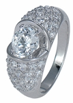 Dahlia 1 Carat Round Cubic Zirconia Split Dome Pave Solitaire Ring