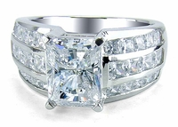 Dakota 4 Carat Cubic Zirconia Emerald Cut Three Row Princess Cut Channel Ring