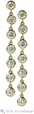 Dangle Bezel Set Round Cubic Zirconia Drop Earrings