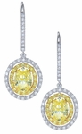 Davalos 1.5 Carat Each Oval Canary Diamond Look Cubic Zirconia Double Halo Drop Earrings
