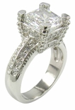 Decadence 2.5 Carat Cushion Cut Cubic Zirconia Pave Solitaire Engagement Ring