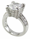 Decadence 4 Carat Cushion Cut Cubic Zirconia Pave Solitaire Engagement Ring