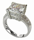 Decadence 7 Carat Cushion Cut Cubic Zirconia Pave Solitaire Engagement Ring