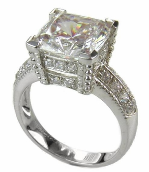 Decadence Cushion Cut Cubic Zirconia Pave Solitaire Engagement Ring Series
