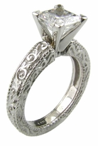 Deco 1.5 Carat Princess Cut Square Cubic Zirconia Engraved Antique Estate Style Solitaire