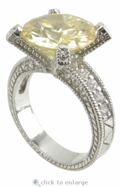 Deco 5.5 Carat Round Cubic Zirconia Pave Engraved Solitaire Engagement Ring