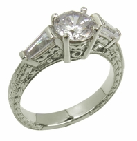 Deco Baguette 1 Carat Round Cubic Zirconia Engraved Estate Antique Solitaire