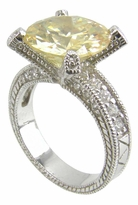 Deco Round Cubic Zirconia Pave Engraved Solitaire Engagement Ring Series