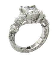 Deconence 1.5 Carat Princess Cut Cubic Zirconia Trillion Engraved Estate Style Antique Solitaire