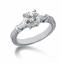 Decotaire 1.25 Carat Antique Estate Engraved Round Baguette Cubic Zirconia Solitaire Engagement Ring