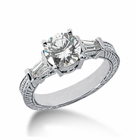 Decotaire 1.5 Carat Antique Estate Engraved Round Baguette Cubic Zirconia Solitaire Engagement Ring