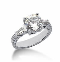 Decotaire 2.5 Carat Antique Estate Engraved Round Baguette Cubic Zirconia Solitaire Engagement Ring