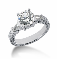 Decotaire 2 Carat Antique Estate Engraved Round Baguette Cubic Zirconia Solitaire Engagement Ring