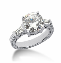Decotaire 3 Carat Antique Estate Engraved Round Baguette Cubic Zirconia Solitaire Engagement Ring