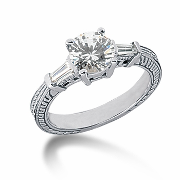 Decotaire Antique Estate Engraved Round Baguette Cubic Zirconia Solitaire Engagement Ring Series
