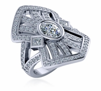 Decotique .75 Carat Oval Bezel Split Shank Antique Cubic Zirconia Ring