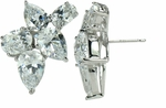 Del Ray Pear Oval Cubic Zirconia Estate Style Cluster Earrings