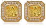 Delarenza 5.5 Carat Each Canary Cubic Zirconia Pave Halo Earrings