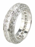 DeLeon Princess Cut Channel Set And Pave Set Round Cubic Zirconia Eternity Band