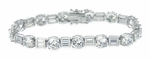 Delmar 1.25 Carat Each Round Cubic Zirconia Alternating Baguette Bracelet Large Version