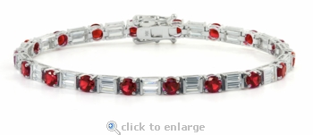 Delmar .25 Carat Each Ruby Round Alternating Cubic Zirconia Double Baguette Bracelet