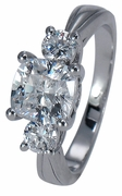 Demure Cushion Cut Square and Round Cubic Zirconia Three Stone Ring