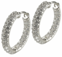 Devan Inside Out Cubic Zirconia Double Row Pave Hoop Earrings