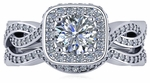 Devi 1 Carat Cubic Zirconia Round Square Halo Pave Braided Woven Shank Bridal Wedding Set