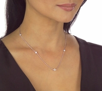 Diamond Look Ziamonds By The Yard Cubic Zirconia Station Necklace