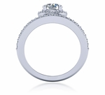 Dontella 1 Carat Round Cubic Zirconia Pave Halo Split Shank Crossover Ring