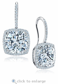 Dosier 8.5 Carat Cushion Cut Cubic Zirconia Pave Halo Drop Earrings