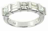 Double Baguette Princess Cut Cubic Zirconia Gemlock Anniversary Band