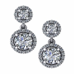 Double Drop Dangle Round Cubic Zirconia Halo Earrings