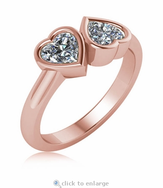 Double Heart 1 Carat Each Bypass Bezel Set Ring