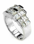 Double Row Graduated Princess Cut Channel Set Cubic Zirconia Band