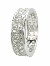 Double Row  Pave Set Round Cubic Zirconia Eternity Band