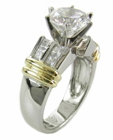 Double Row Two Tone 2 Carat Round Cubic Zirconia Solitaire Engagement Ring