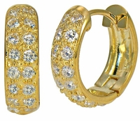 Doublet Two Row Pave Cubic Zirconia Huggie Hoop Earrings