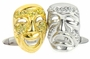 Dramedy Pave Comedy Tragedy Cubic Zirconia Cufflinks