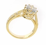 Dresden Crown 2.5 Carat Round Cubic Zirconia Cathedral Pave Solitaire Engagement Ring