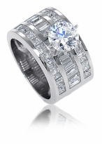 Driscoll 2 Carat Round Cubic Zirconia Channel Set Baguette Princess Cut Solitaire Engagement Ring