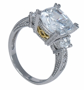 Drotisse 5.5 Carat Cushion Cut With Ovals Cubic Zirconia Antique Estate Style Ring