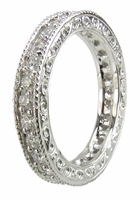 Durante Engraved Pave Set Round Cubic Zirconia Eternity Band