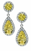 Dutchess 1.5 Carat Pear Lab Created Canary Pave Cubic Zirconia Halo Drop Earrings