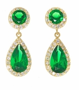 Dutchess 1.5 Carat Pear Lab Created Emerald Pave Cubic Zirconia Halo Drop Earrings